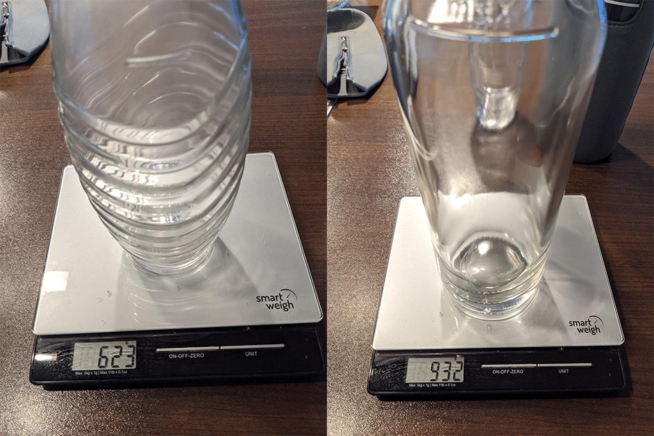 Glasflaschen Wassersprudler Gewicht vergleich